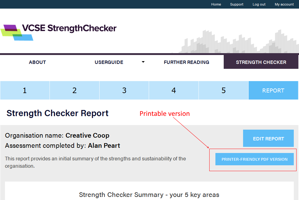 Can I print my report or download it? | VCSE Strength Checker